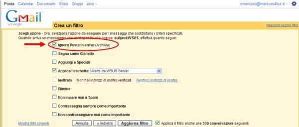 """Check """"Ignora Posta in arrivo"""""""